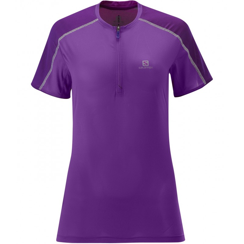Salomon Trail run zip tee Femme - violet
