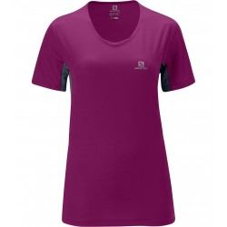 Salomon trail tee mc col v femme - violet/anthracite
