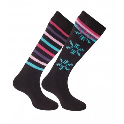 Thyo Lot de 2 Flocons + Rayures - noir/rose/fuschia