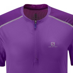Salomon Trail run zip tee Femme - violet T-shirt running