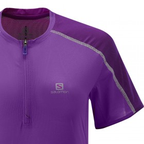 Salomon Trail run zip tee Femme - violet tee-shirt trail